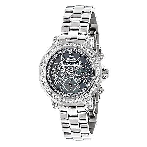 LUXURMAN Diamond Watches Plated Platinum Watch 2ct
