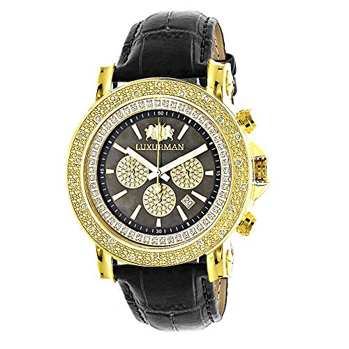 Large LUXURMAN Mens Watch with Diamonds 0 25ct Yellow Gold Plated Black MOP Escalade with Leather Strap