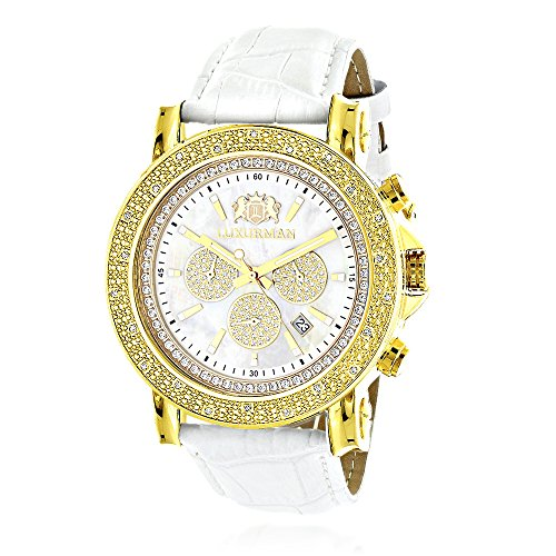 Large LUXURMAN Mens Watch with Diamonds 0 25ct Yellow Gold Plated White MOP Escalade with Leather Band