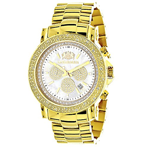 Large Luxurman Mens Watch with Diamonds 0 25ct Yellow Gold Plated Escalade