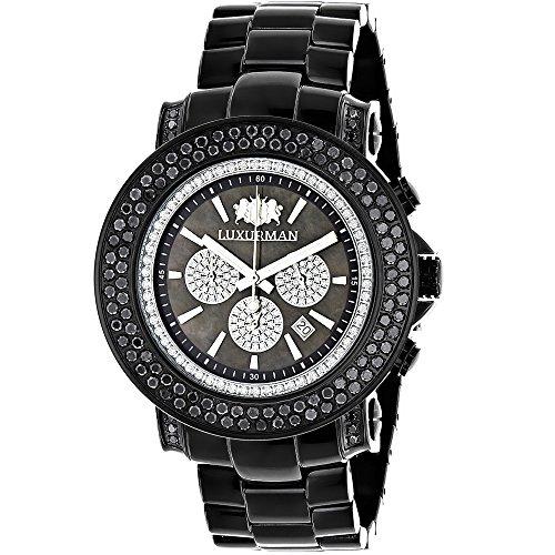 LUXURMAN Escalade Mens Black Diamond Watch Oversized Chronograph 4 75ct