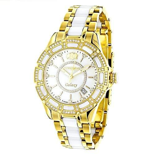 Luxurman Ladies Diamond Ceramic Watch 1 25ct White MOP Galaxy Yellow Gold