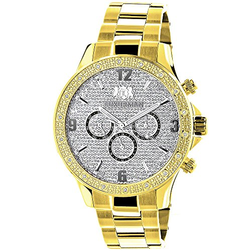 LUXURMAN Liberty Yellow Gold Plated Mens Diamond Watch Swiss Mvt 0 2ct