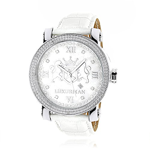 LUXURMAN Phantom Large Diamond Watch for Men Leather Band White MOP 0 12ct