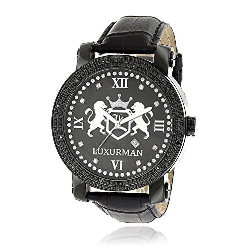 LUXURMAN Phantom Large Black Diamond Watch for Men Leather Band Black MOP 0 12ct