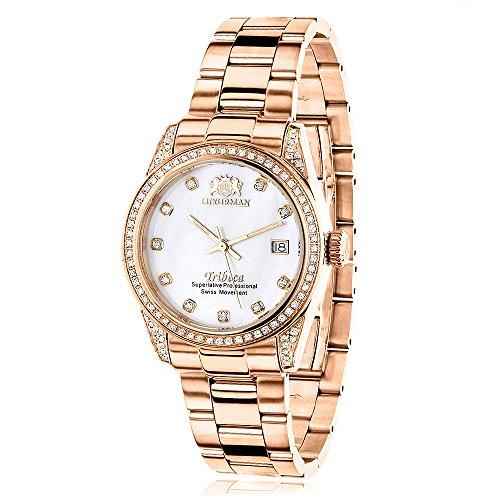 LUXURMAN Rose Gold Plated Diamond Watch for Women Tribeca 1 5ct Swiss Quartz White MOP Dial Metal Band