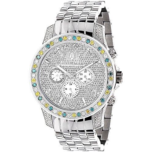 Luxurman Raptor Unique Mens Multicolor Diamond Watch 3 75ct