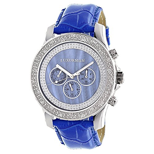 Luxurman Raptor Watches Mens Real Diamond Watch 0 25ct Blue MOP w Leather Strap