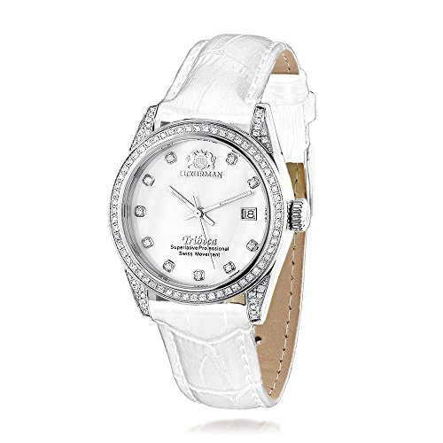 LUXURMAN Tribeca Womens Diamond Swiss Quartz Watch Stainless Steel 1 5ct w White MOP Leather Band
