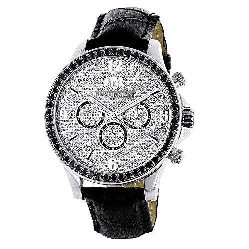 LUXURMAN Watches Mens Black Diamond Watch 3ct