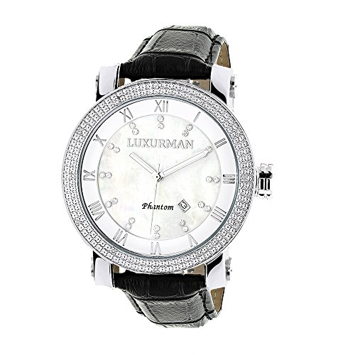 LUXURMAN Watches Mens VS Diamond Watch 18ct White MOP