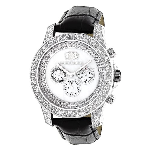 LUXURMAN Watches Mens Diamond Watch 50ct White Freeze