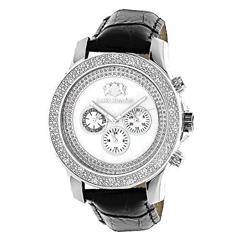 LUXURMAN Watches Mens Diamond Watch 25ct White Freeze