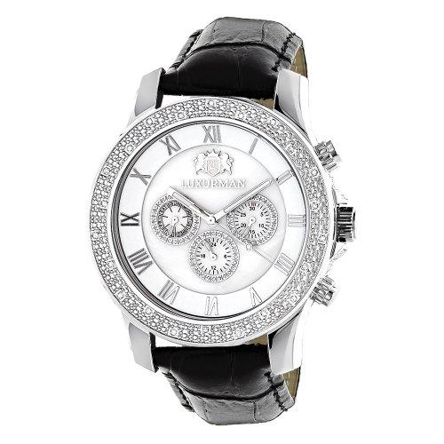 LUXURMAN Watches Mens Diamond Watch 0 25 ct White MOP