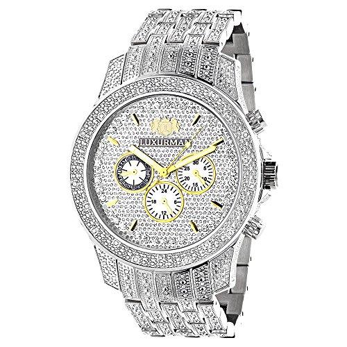 LUXURMAN Mens Watches Genuine Diamond Watch 1 25ct