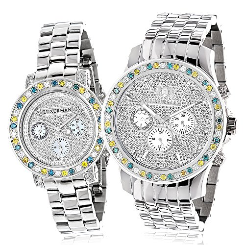 Matching His and Hers Watches LUXURMAN White Blue Yellow Diamond Watch Set Gold Plated w Steel Bands 5 25CT