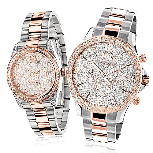 Matching His and Hers Watches Luxurman 18k White Rose Gold Plated Diamond Watch Set Swiss Mvt 1 7ct