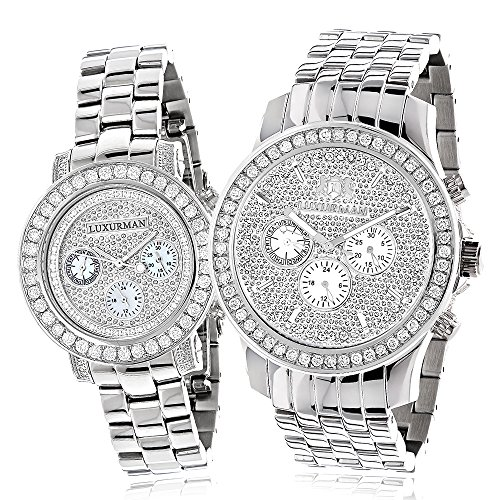 Matching His and Hers Watches LUXURMAN Diamond Bezel Watch Set 6ct