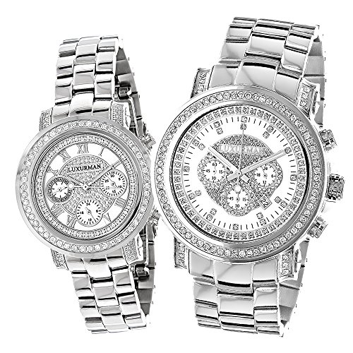 Matching His and Hers Watches Luxurman Oversized Diamond Watch Set 4 5ct