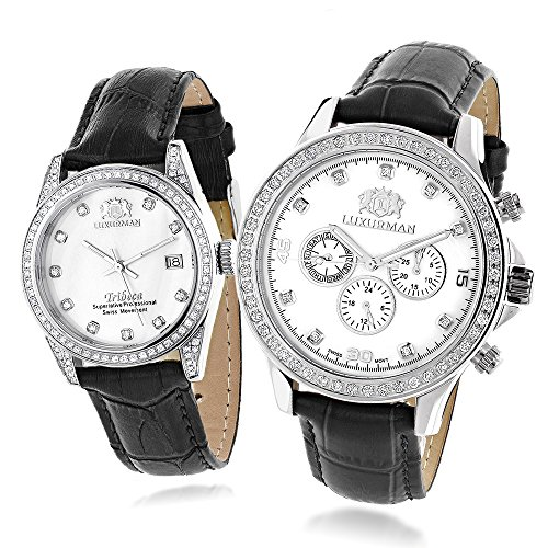 Matching His and Hers Swiss Mvt LUXURMAN Real Diamond Watches w Black Leather Band White MOP
