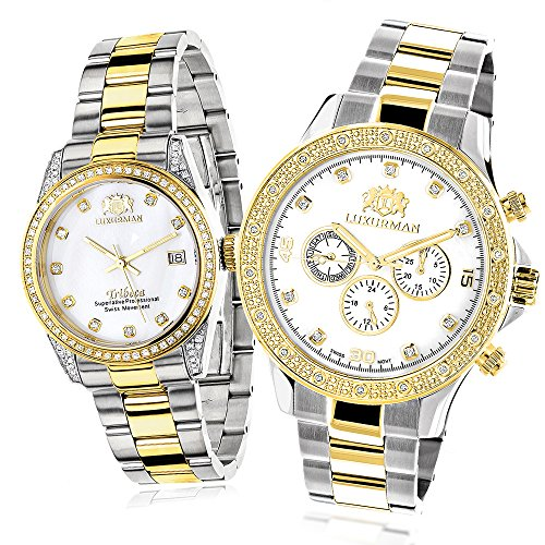Matching Watches for Couples LUXURMAN Two Tone Yellow Gold Plated Diamond Watch Set Swiss Quartz