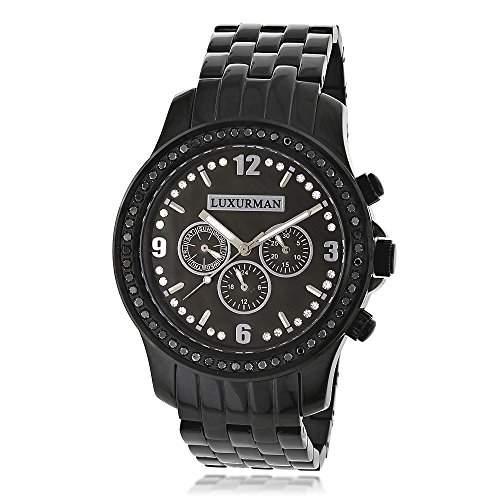 Mens Black Diamond Watch by LUXURMAN 2 25ct