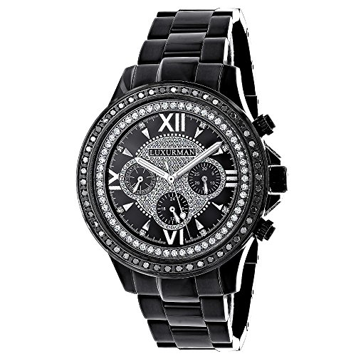 Mens Diamond Watches LUXURMAN Black Diamond Watch 2ct Liberty