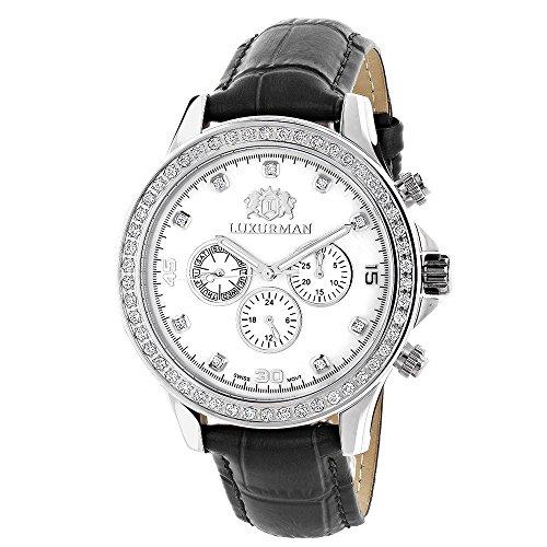 Mens Diamond Watches LUXURMAN Liberty 2ct Black Leather Band White MOP
