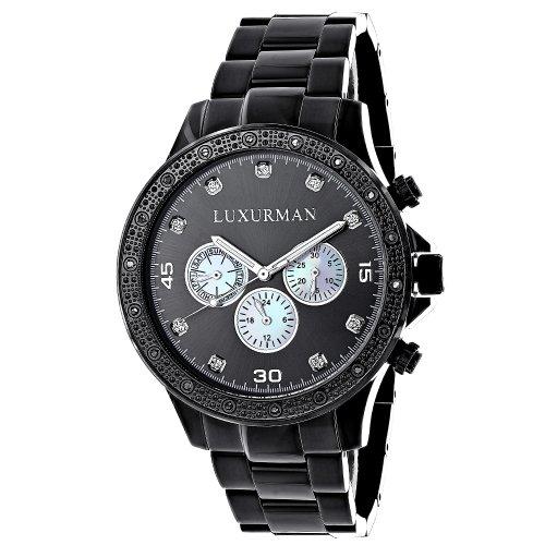 Midsize Mens Black Diamond Watch by LUXURMAN 0 25ct