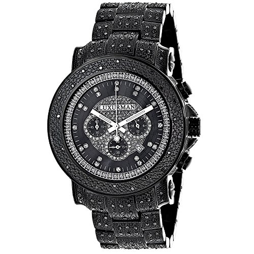 Oversized Iced Out Black Diamond Mens Watch by LUXURMAN 2ct Fully Paved w Chronograph Leather Bands