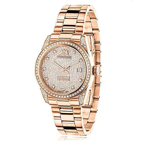 Rose Gold Plated Real Diamond Watch for Women 1 5ct LUXURMAN Tribeca w Extra Leather Bands Swiss Mvt