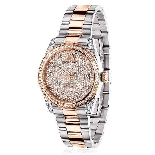 Two Tone Rose Gold Plated Womens Diamond Watch 1 5ct Luxurman Tribeca