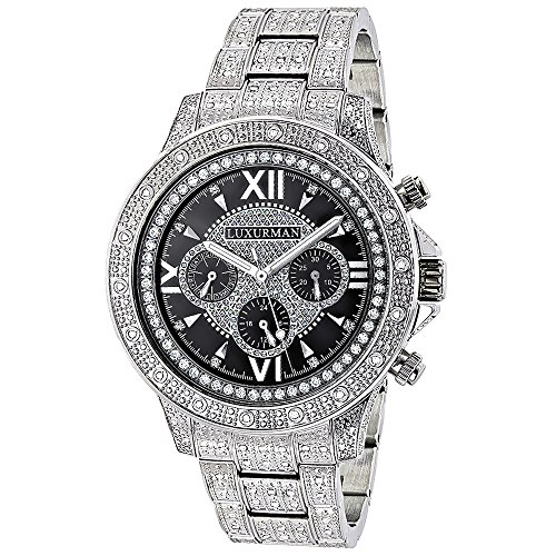Iced Out Mens Watch with Diamond Band 1 25ct LUXURMAN Liberty