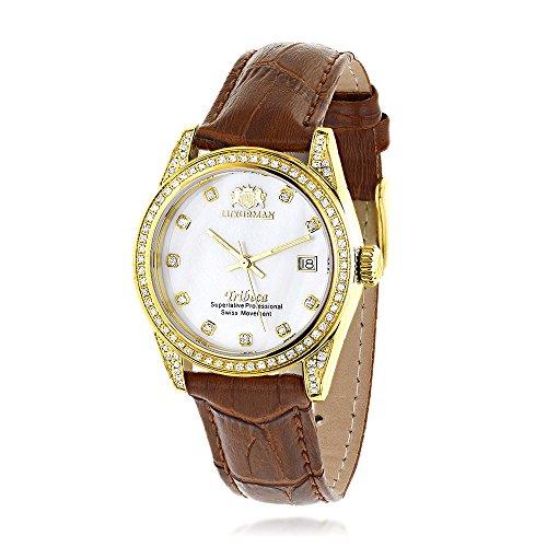 Womens Diamond Watch 18k Yellow Gold Plated White MOP Leather Band Swiss Mvt LUXURMAN Tribeca 1 5ct