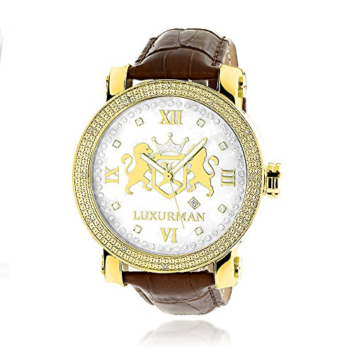Large 18k Yellow Gold Plated Diamond Watch For Men by LUXURMAN Phantom White MOP with Leather Band 0 12CT