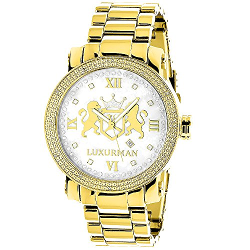 Yellow Gold Plated Diamond Watch for Men by LUXURMAN Phantom 0 12ct