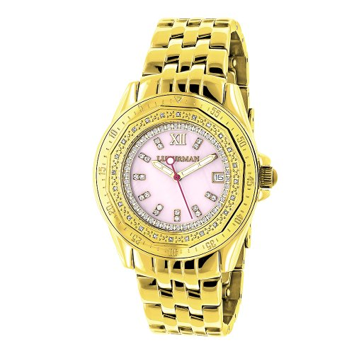 Yellow Gold Plated Ladies Diamond Pink MOP Watch by LUXURMAN 0 25ct