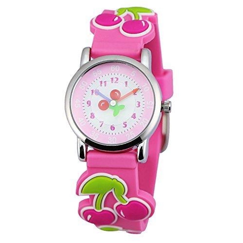 Zeichen Kinderuhr Lernuhren Quarz Uhr Rosa Kirsche Gummi Armbanduhr Jungen Uhr DEW006