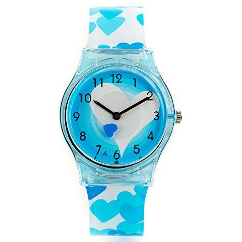 Zeichen Kinderuhr Lernuhren Quarz Uhr Blau Herz Silikon Armbanduhr Jungen Uhr DEW004