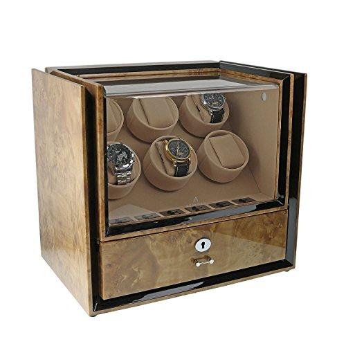 Aevitas Magnum Kollektion Uhrenbeweger fuer 6 Uhren mit Aufbewahrungsbox aus Wurzelholz hell