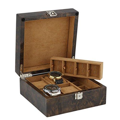 Armbanduhr und Manschettenknoepfe Sammler Box 8 Paar Manschettenknoepfe 4 Handgelenk Uhren im Licht Wurzelholz mit massivem Deckel von aevitas