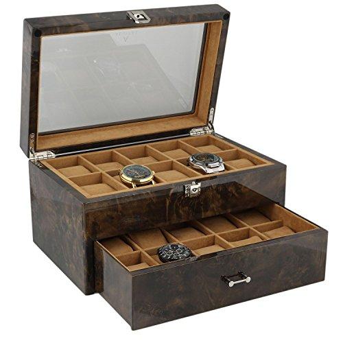 Armbanduhr Sammler Box fuer 20 Handgelenk Uhren in dunklen Wurzelholz von aevitas