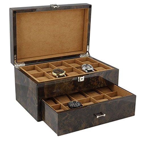 Armbanduhr Sammler Box fuer 20 Handgelenk Uhren in dunkel Wurzelholz mit Deckel durch aevitas
