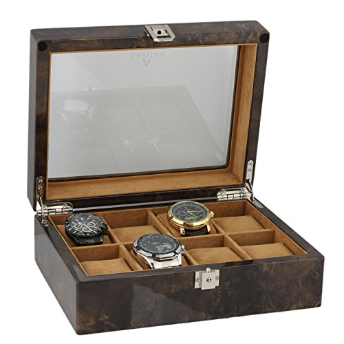 Armbanduhr Sammler Box fuer 8 Handgelenk Uhren in dunklen Wurzelholz von aevitas