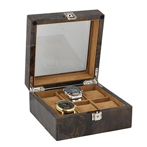 Armbanduhr Sammler Box fuer 6 Handgelenk Uhren in dunklen Wurzelholz von aevitas