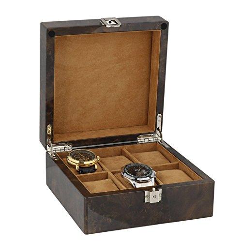 Armbanduhr Sammler Box fuer 6 Handgelenk Uhren in dunkel Wurzelholz mit Deckel durch aevitas
