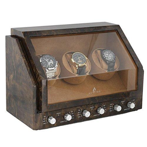 Dreifach Uhrenbeweger im dunklen Knorren Holz Premier Sortiment by Aevitas