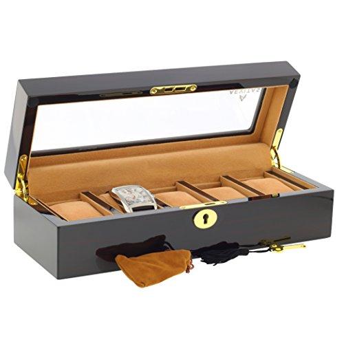 Ebenholzbox fuer Armbanduhren Sammler Box mit Luxus Futter fuer 5 Uhren mit Glasdeckel von aevitas