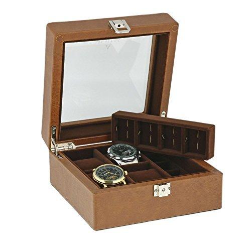Braun aus echtem Leder 4Armbanduhr 8Paar Manschettenknoepfe Sammler Box braun Samt Futter von aevitas