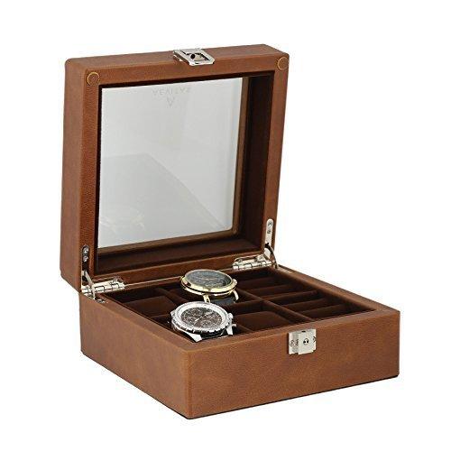 Braun aus echtem Leder 4Armbanduhr 4Paar Manschettenknoepfe Sammler Box Samt braun Lining by aevitas